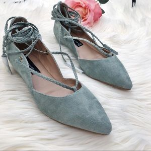 Steven By Steve Madden Suede Lace Up Mint Flats